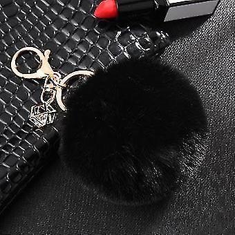 Načechrané a měkké králičí pompom trinket klíčeny (černá)