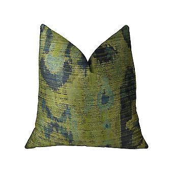 """Plutus Sonoma Canyon Green Navy and Blue Handmade Luxury Pillow - Double sided  20"""" x 36"""" King"""