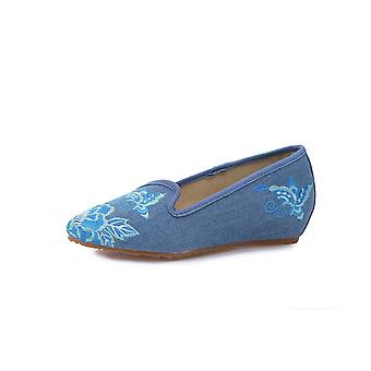 Women's Chinese Retro Ethnic Embroidery Low Heel Flat Elevator Cheongsam Dress Shoes Butterfly Love Flower