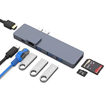 8 In1 Dual Type-c Hub Adapter Usb3.0 Hdmi 4k Rj45 Sd/tf Readers Thunderbolt 3