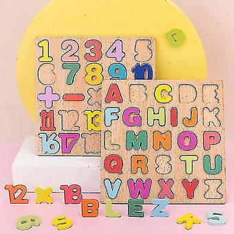Puzzle 3d Planche en bois avec numéro d'alphabet coloré Enfants Tôt éducation Busy Board Jouet