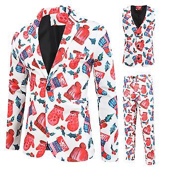 Maili Miesten jouluhanskat, sukat, lippikset, painettu yksirintainen kolmiosainen puku (single West + Vest + Housut)