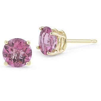 Pink Topaz Stud Earrings, 14K Yellow Gold