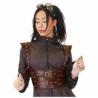 Phaze - steampunk brown faux leather bolero