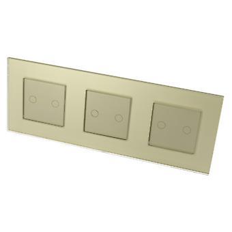 I LumoS luksus gull Glass ramme & gull Insert Touch kontrollert LED-lys brytere