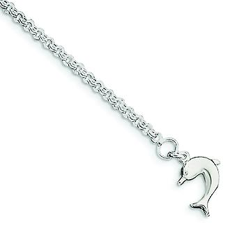 925 Sterling Silver Hollow Polished Dolphin Anklet Spring Ring Jewelry Gifts for Women - Length: 9 to 10