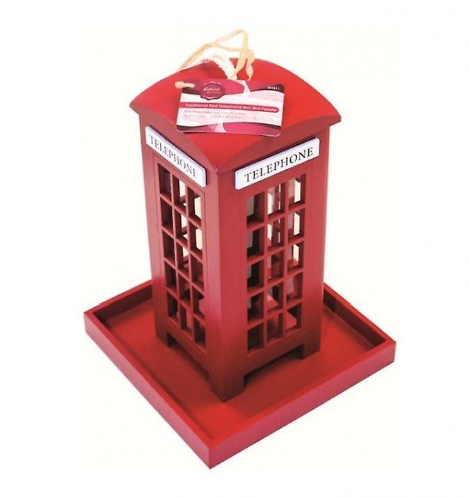 Traditional Red Telephone Box Shape Wooden Bid Feeder Garden Hanging Ornament
