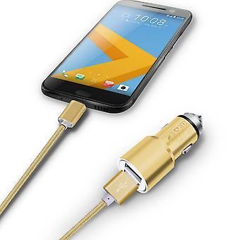 (Gold) Dual Port Aluminium Car Charger Adaptor (3.1A/24W) & 1 Meter Micro-USB Data Cable For Archos Diamond Gamma