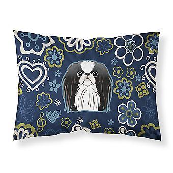Blue Flowers Japanese Chin Fabric Standard Pillowcase