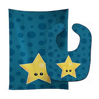 Carolines Treasures  BB7159STBU Weather Night Star Face Baby Bib & Burp Cloth