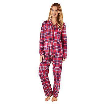 Slenderella PJ8232 femei ' s Red tartan bumbac Pajama mânecă lungă Pyjama set