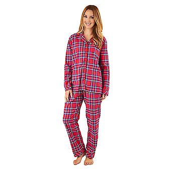 Slenderella PJ8232 Women's Red Tartan Cotton Pajama Long Sleeve Pyjama Set