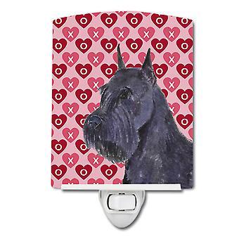 Schnauzer Hearts Love and Valentine's Day Portrait Ceramic Night Light