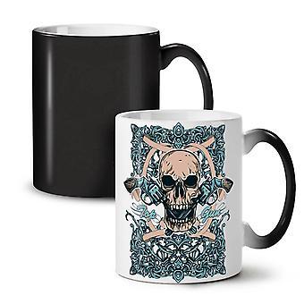 Head Top Gun Face Skull NEW Black Colour Changing Tea Coffee Ceramic Mug 11 oz | Wellcoda
