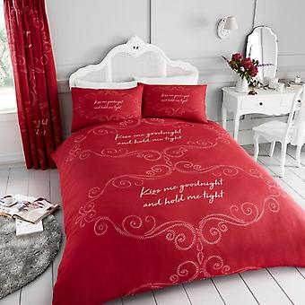 Goodnight Kiss Me Hold Tight 4Pc copripiumino lenzuolo con angoli Polycotton Bedding Set