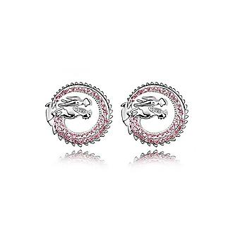 Ohrringe Drachen verzierten Crystal Rose von Swarovski und Rhodium Platte