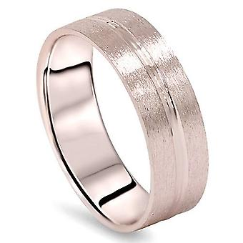 Mens 14K Rose Gold Brushed Comfort Fit Wedding Ring