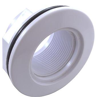 "Custom 25550-000-000 1.5"" FPT 2.375"" HS 3.5"" FD Wall Fitting with Nut - White"