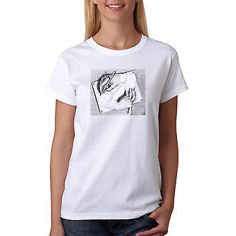 M.C. Escher Drawing Hands Women's White T-shirt