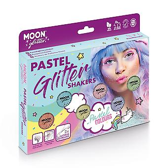 Pastel Glitter Shakers by Moon Glitter – 100% Cosmetic Glitter for Face, Body, Nails, Hair and Lips - 3g - Boxset