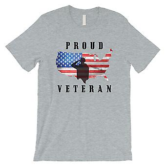Proud Veteran Dad Shirt Gift Mens Grey T-Shirt For 4th of July