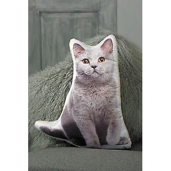 Adorable british blue cat shaped cushion