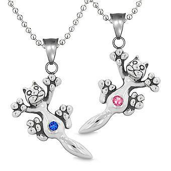 Amulets Cute Kitty Cat Love Couples or Best Friends Set Blue Pink Sparkling Crystals Necklaces