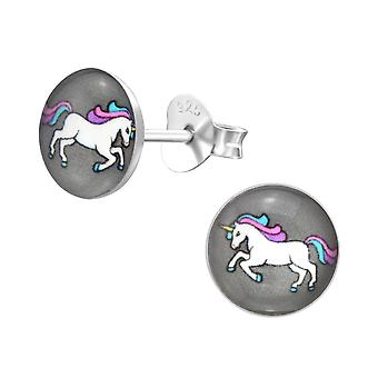 Unicorn - 925 Sterling Silver Colourful Ear Studs - W31958X
