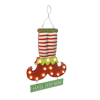 Festive Productions Battery Operated Lit Christmas Elf Legs Santa Stop Sign