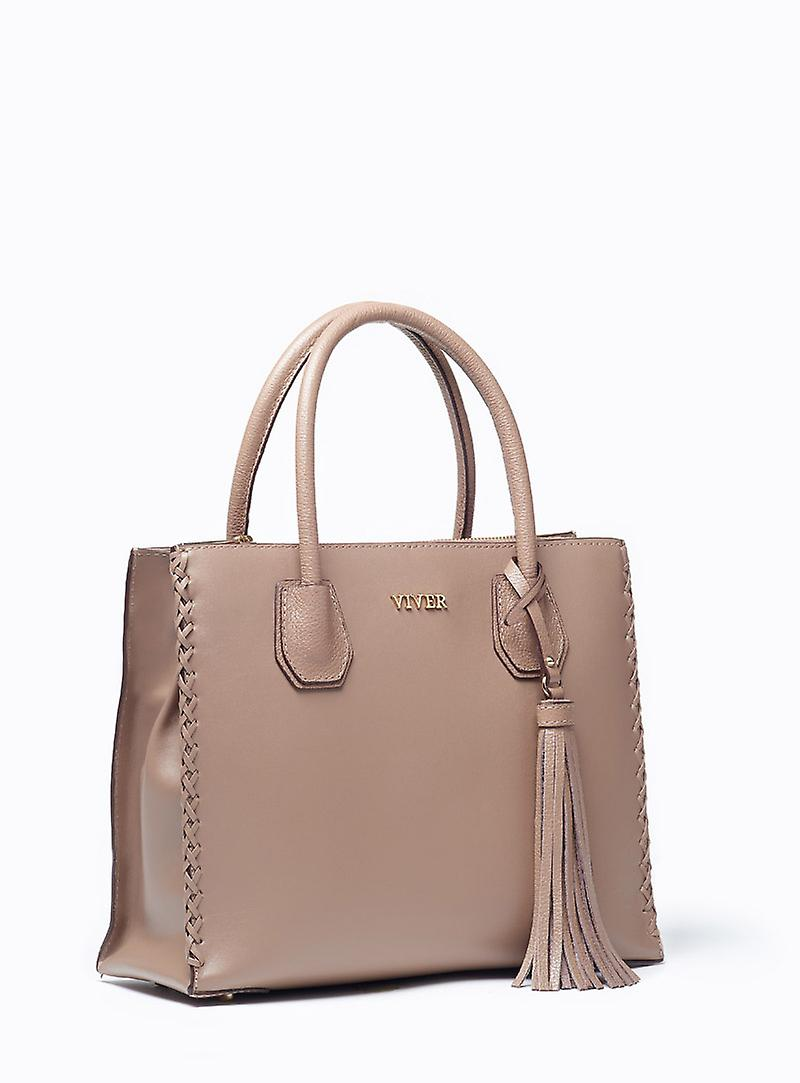 Viver Leather Handbag Forte Stone