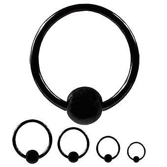 BCR Piercing schwarz, Ball Closure Ring, Körperschmuck, Dicke 1,2 mm | Durchmesser 6-12 mm
