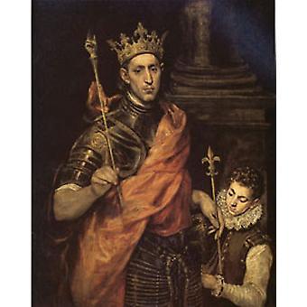 سانت لويس ملك فرنسا مع صفحة، إل غريكو، 60x50cm