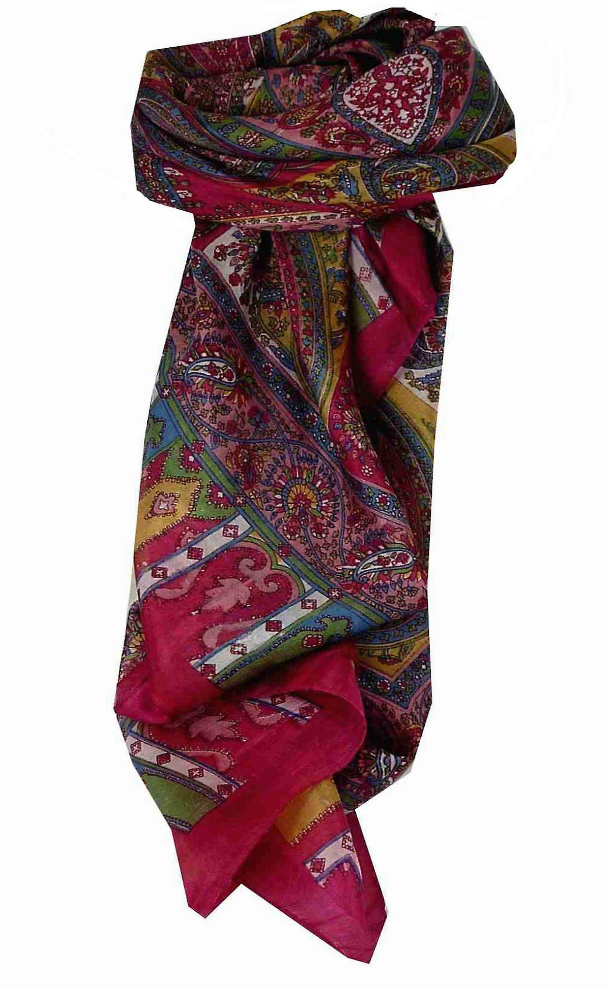 Mulberry Silk Traditional Square Scarf Aimee Pink by Pashmina & Silk