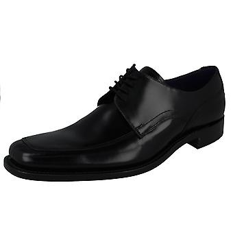 Mens Loake noir verni cuir chaussures Artemis