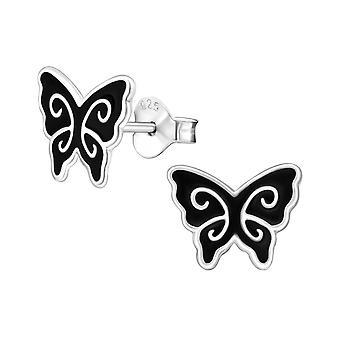 Butterfly - 925 Sterling Silver Colourful Ear Studs - W12440x