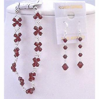Bracciale cristalli rosso Siam & perle di vetro giapponese Orecchini intrecciati