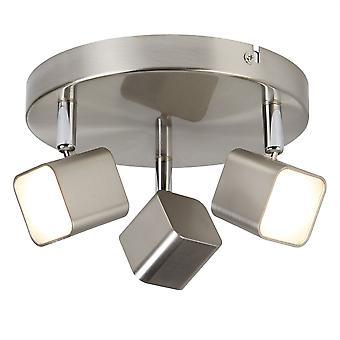 Quad in raso argento tre LED faretti su piastra - Searchlight 4233SS luce