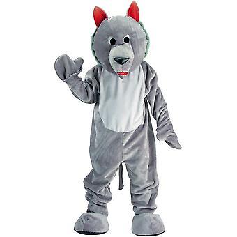 Traje de la mascota lobo gris