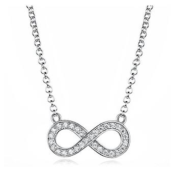 925 Sterling Silver Infinity Design Pave Pendant Necklace