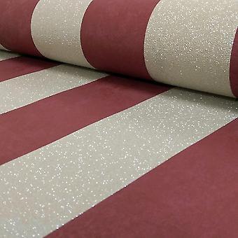 Rayure or rouge paillettes papier peint rayures métalliques texturé pâte le mur P + S