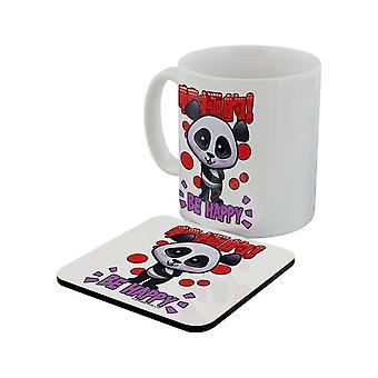Handa Panda Be Happy Mug & Coaster Set