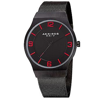 Akribos XXIV Men es Japanese Quarz Stainless Steel Mesh Armband Watch AK851BK