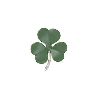 Eeuwige collectie Shamrock groen emaille zilveren Toon bloem broche