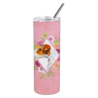 Jack Russell Terrier #2 Pink Flowers Double Walled Stainless Steel 20 oz Skinny