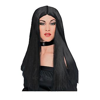 Womens Witch Long Black Wig Vampire Halloween Fancy Dress Costume Accessory