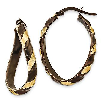 14k Yellow Gold Hollow Etched Finish and Brown Rhodium 3.7mm Wavey Hoop Earrings Jewelry Gifts for Women