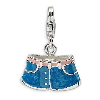 925 Sterling Silver Blue Enamel Rhodium banhado Fancy Lobster Closure 3 D Enameled Blue Jean Shorts with Lobster Clasp Ch