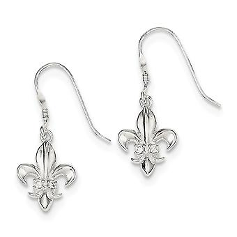 925 Sterling Silver Dangle Polished Shepherd hook CZ Cubic Zirconia Simulated Diamond Fleur de lis Earrings Jewelry Gift