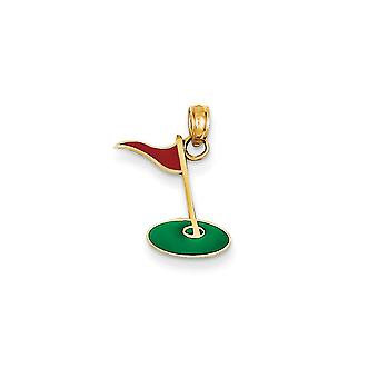 14 k gult guld Solid polerad emaljerad Golf flagga grön Charm -.6 gram