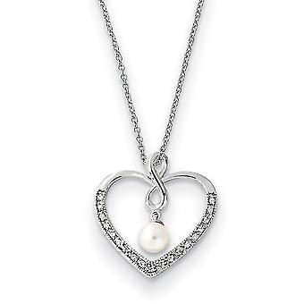 925 Sterling Zilver gepolijst Gift Boxed Spring Ring Rhodium verguld CZ Cubic Zirconia Gesimuleerde Diamant en Zoetwater Cu